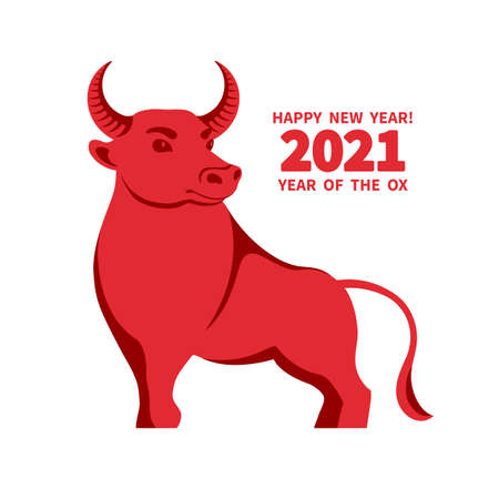 Ox is a symbol of the 2021 Chinese New Year. Holiday vector illustration of decorative red Zodiac Sign of bull on a white background. 矢量图像