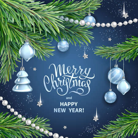 Greeting card for Merry Christmas and Happy New Year. Realistic branches of fir tree, silver glass toys, balls, sequins and garlands on dark blue background. Vector template for holidays design