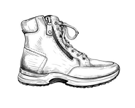 Hand drawn sketch of one boot isolated on a white background. Concept of comfort shoes in modern casual style. Side view. Vector illustration