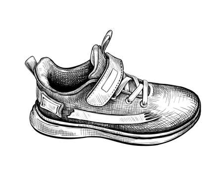 Hand drawn sketch of one sneaker Isolated on a white background. Concept of comfort sport shoes in modern casual style. Side view. Vector illustration