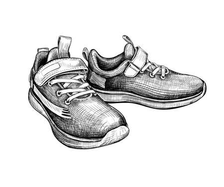 Hand drawn sketch of sneakers Isolated on a white background. Concept of comfort sport shoes in modern casual style. Side view. Vector illustration