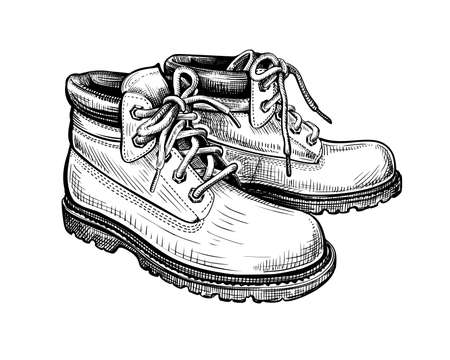 Hand drawn sketch of boots isolated on a white background. Concept of comfort shoes in modern casual style. Side view. Vector illustration