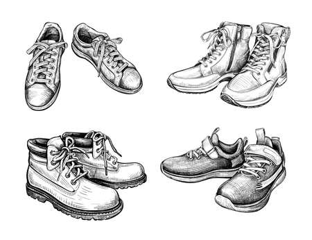 Hand drawn sketch of different pairs shoes. Boots and sneakers isolated on a white background. Concept of comfort shoes in modern casual style. Side view. Vector illustration 矢量图像
