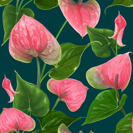 Floral seamless pattern with Anthurium flowers and leaves on a dark background. Bright green-pink buds. Vector botanical illustration. Exotic tropical elements for textile design