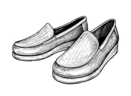 Hand drawn sketch of moccasins isolated on a white background. Concept of comfort shoes in modern casual style. Side view. Vector illustration