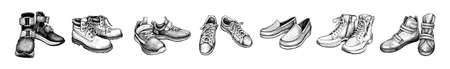 Hand drawn sketch of different pairs shoes. Boots, sneakers, moccasins isolated on a white background. Concept of comfort shoes in modern casual style. Side view. Vector illustration Standard-Bild