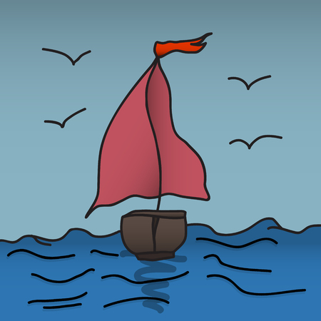 clouds: ship sails on the sea. vector illustration of hand Illustration