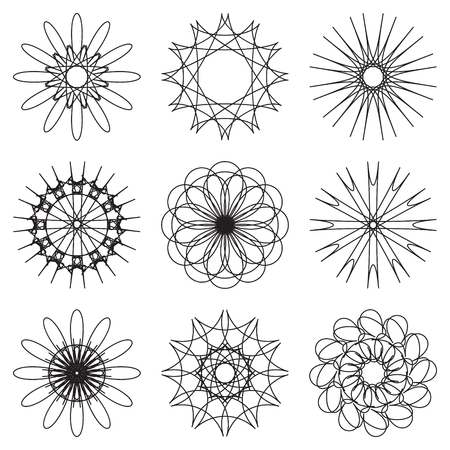 abstract flowers: set of contour spirographic icons