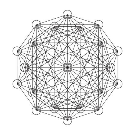 Modelo entretejido de formas geométricas. Ilustración del vector.