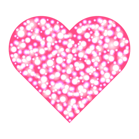 bubble gum: big heart of glowing bubbles. Vector illustration. Illustration