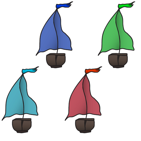 barque: set of four colorful boats. Vector illustration. Illustration
