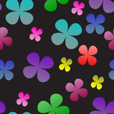 seamless clover: Multi-colored clover on a black background. Seamless pattern. vector illustration. Illustration