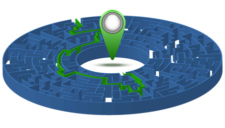complex navigation: Labyrinth with a solution and a label. Vector illustration. 3D image. Illustration