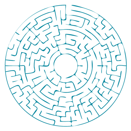 Round blue labyrinth without a solution. vector illustration.