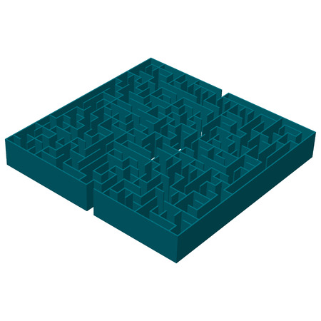 A three-dimensional image of a square blue labyrinth. vector illustration. Illustration