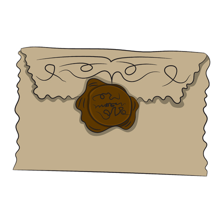 old envelope: Envelope with seal. Vector illustration. Drawing by hand.