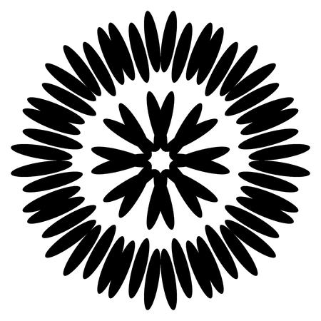 Symmetrical black aster. Circular pattern. vector illustration. Иллюстрация