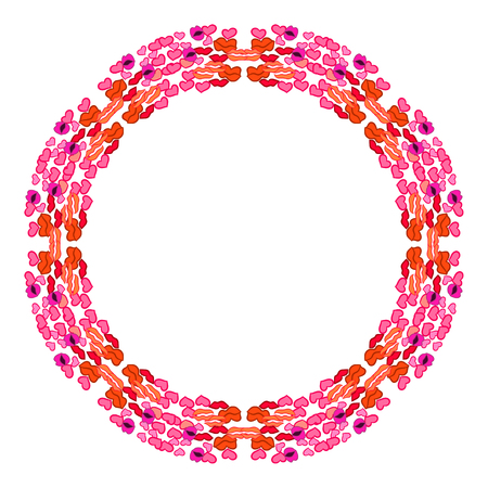 Day of kisses. Circular frame. Vector illustration, drawing by hand. Illustration
