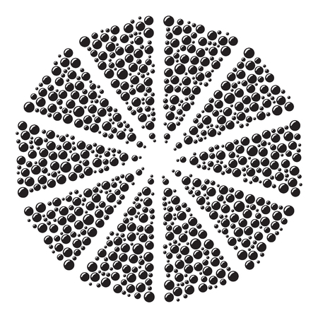 Circular pattern of black bubbles on a white background. vector illustration.