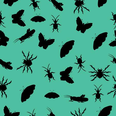 Muster der Silhouetten von Insekten . Vektor-Illustration . Zeichnung von Hand Standard-Bild - 84278741