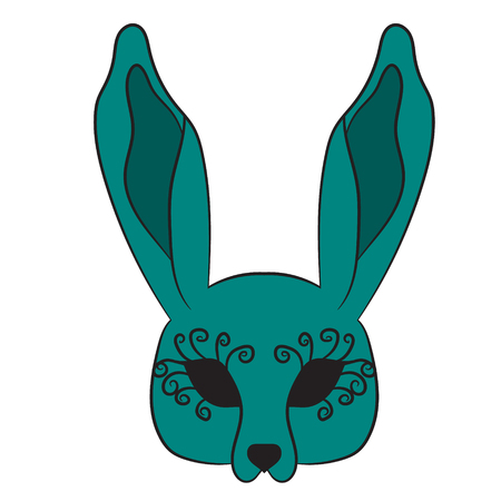 Mask hare. vector illustration. Drawing by hand.