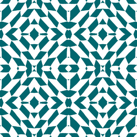 antiquarian: Blue tiles with seamless pattern. Vector illustration. Drawing by hand.