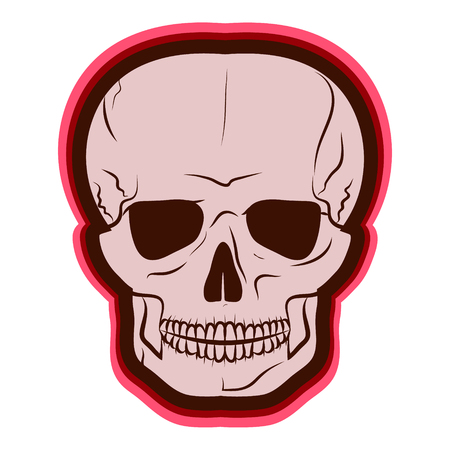 Red Skull. vector illustration. Drawing by hand.