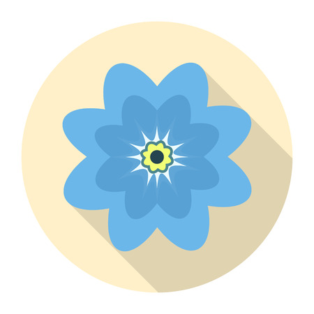 Round blue flower icon on a yellow background. vector illustration.
