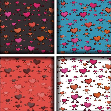 Set of four patterns with hearts. vector illustration. Hand drawing.