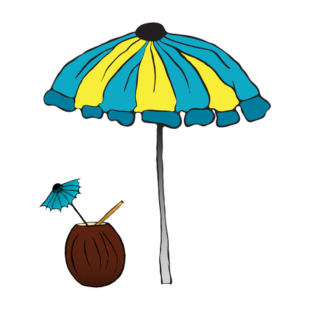 Summer cocktail under the umbrella. vector illustration. Drawing by hand.