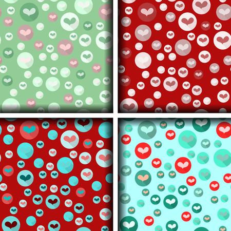 beguin: set of four heart patterns in bubbles. Vector illustration.