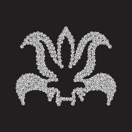 Lily of diamonds on a black background. Vector illustration. Illustration