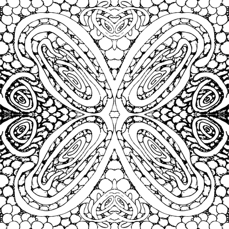 tile: Seamless tile with a black and white pattern. Vector illustration. Hand drawing.