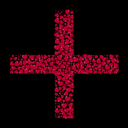 The shape of the cross is filled with small hearts on a black background. Illustration