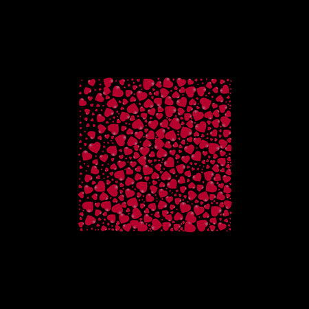 shape of a square filled with hearts on a black background. vector illustration