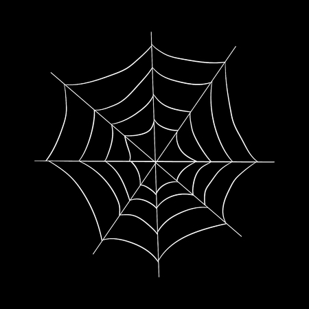Drawing on the theme of Halloween. White web on a black background. Vector illustration. Hand drawing Illustration