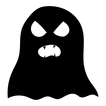 Illustration for Halloween. Picture of a cartoon ghost. Vector graphics. Hand drawing.
