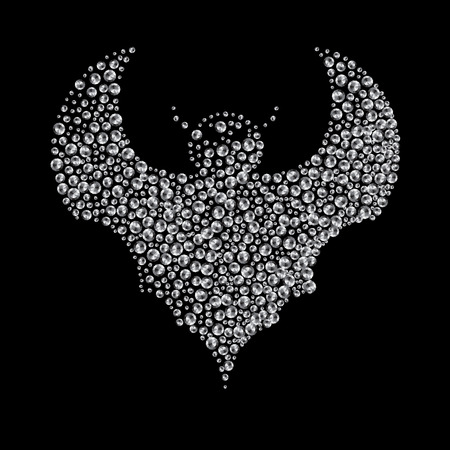 Silhouette of bat filled with diamonds. Illustration on a theme of Halloween. Vector graphics. Hand drawing.