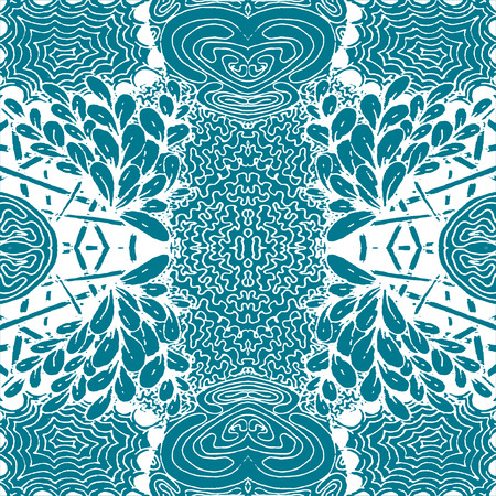 Seamless aqua tile with lacy patterns. Hand drawing in the style of sentangle. Suitable for sheathing or wrapping. Illustration