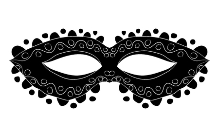 Image of a black mask with patterns. Festive subjects. Vector illustration. Hand drawing Illustration