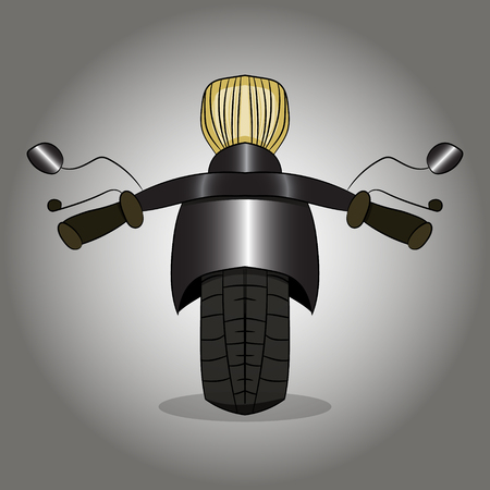 Road motorcycle front view illustration on gray background.