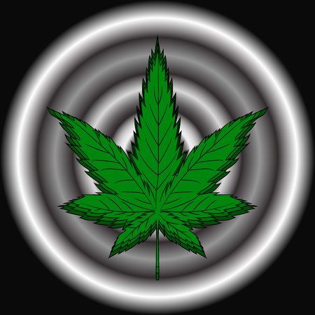 Hemp leaf, dependence on marijuana. Vector illustration.