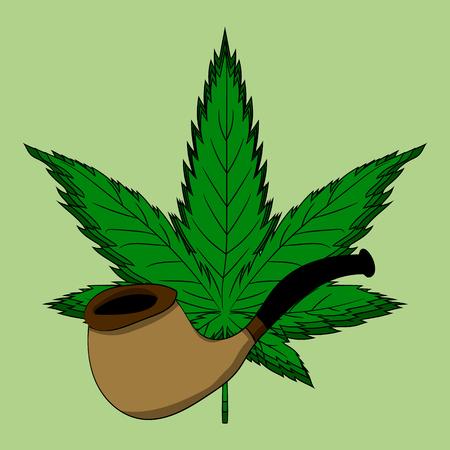 Hemp leaf. Dependence on marijuana. Vector illustration. Hand drawing illustration.