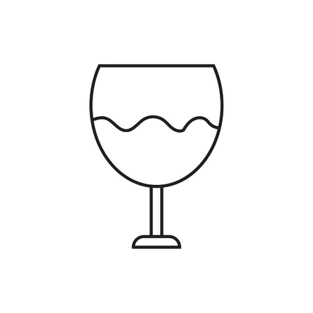 Icon of a glass with wine. Contour drawing without pouring. Vector illustration..