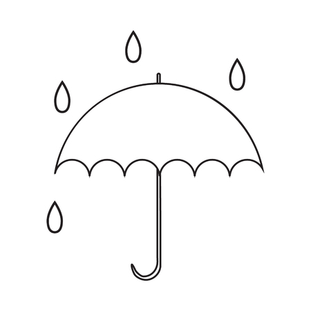 Icon with umbrella with drops. Contour drawing without pouring. Vector illustration. Illustration