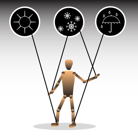 The image of a puppet with icons, symbolizing meteozavisimost. Vector illustration