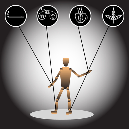 The image of a puppet and icons, symbolizing dependencies. Vector illustration