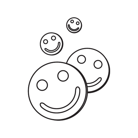 Contour icon with the image of tablets with faces. A drawing without a fill. Vector illustration