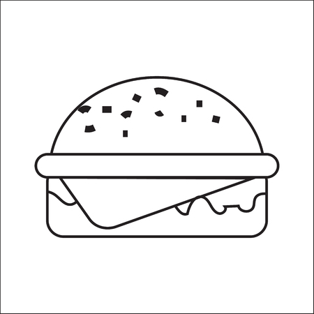 icon depicting a hamburger. A simple drawing without pouring. Vector illustration