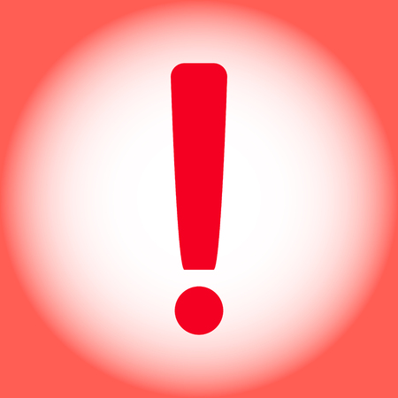 Red warning exclamation mark on a red background. Vector illustration.